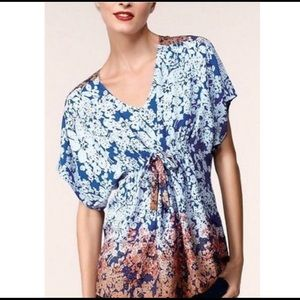 CAbi floral ombré blouse tunic #891 blue orange XS